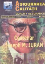 Asigurarea Calităţii - Quality Assurance, Anul X, Numărul 40, Octombrie-Decembrie 2004