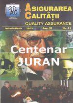 Asigurarea Calităţii - Quality Assurance, Anul XI, Numărul 41, Ianuarie-Martie 2005