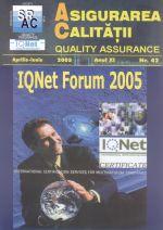 Asigurarea Calităţii - Quality Assurance, Anul XI, Numărul 42, Aprilie-Iunie 2005
