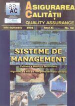 Asigurarea Calităţii - Quality Assurance, Anul XI, Numărul 43, Iulie-Septembrie 2005