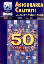 Asigurarea Calităţii - Quality Assurance, Anul XIII, Numărul 50, Aprilie-Iunie 2007