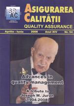 Asigurarea Calităţii - Quality Assurance, Anul XIV, Numărul 54, Aprilie-Iunie 2008
