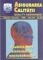 Asigurarea Calităţii - Quality Assurance, Anul XIV, Numărul 56, Octombrie-Decembrie 2008