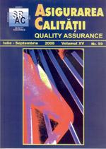 Asigurarea Calităţii - Quality Assurance, Anul XV, Numărul 59, Iulie-Septembrie 2009