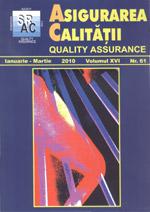 Asigurarea Calităţii - Quality Assurance, Anul XVI, Numărul 61, Ianuarie-Martie 2010