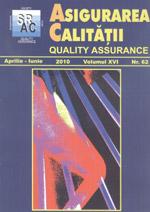 Asigurarea Calităţii - Quality Assurance, Anul XVI, Numărul 62, Aprilie-Iunie 2010
