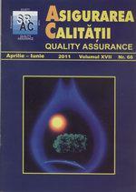 Asigurarea Calităţii - Quality Assurance, Anul XVII, Numărul 66, Aprilie-Iunie 2011