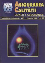 Asigurarea Calităţii - Quality Assurance, Anul XVII, Numărul 68, Octombrie-Decembrie 2011