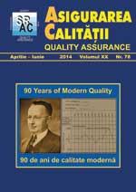Asigurarea Calităţii - Quality Assurance, Anul XX, Numărul 78, Aprilie-Iunie 2014