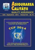 Asigurarea Calităţii - Quality Assurance, Anul XX, Numărul 79, Iulie-Septembrie 2014