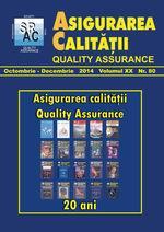 Asigurarea Calităţii – Quality Assurance, Anul XX, Numărul 80, Octombrie-Decembrie 2014