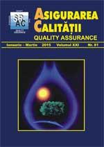 Asigurarea Calităţii - Quality Assurance, Anul XXI, Numărul 81, Ianuarie-Martie 2015