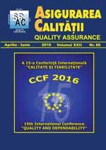 Asigurarea Calităţii - Quality Assurance, Anul XXII, Numărul 86, Aprilie-Iunie 2016