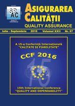 Asigurarea Calităţii - Quality Assurance, Anul XXII, Numărul 87, Iulie-Septembrie 2016