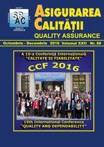 Asigurarea Calităţii - Quality Assurance, Anul XXII, Numărul 88, Octombrie-Decembrie 2016