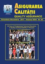 Asigurarea Calităţii - Quality Assurance, Anul XXIII, Numărul 92, Octombrie-Decembrie 2017