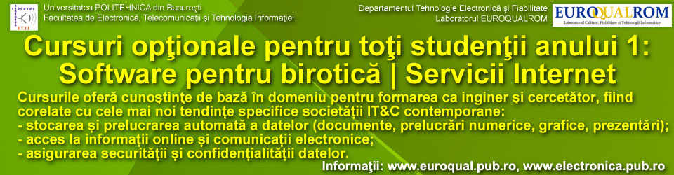 Anul 1 licență: cursuri pentru completarea Contractelor de studii - Servicii Internet și Software pentru birotică