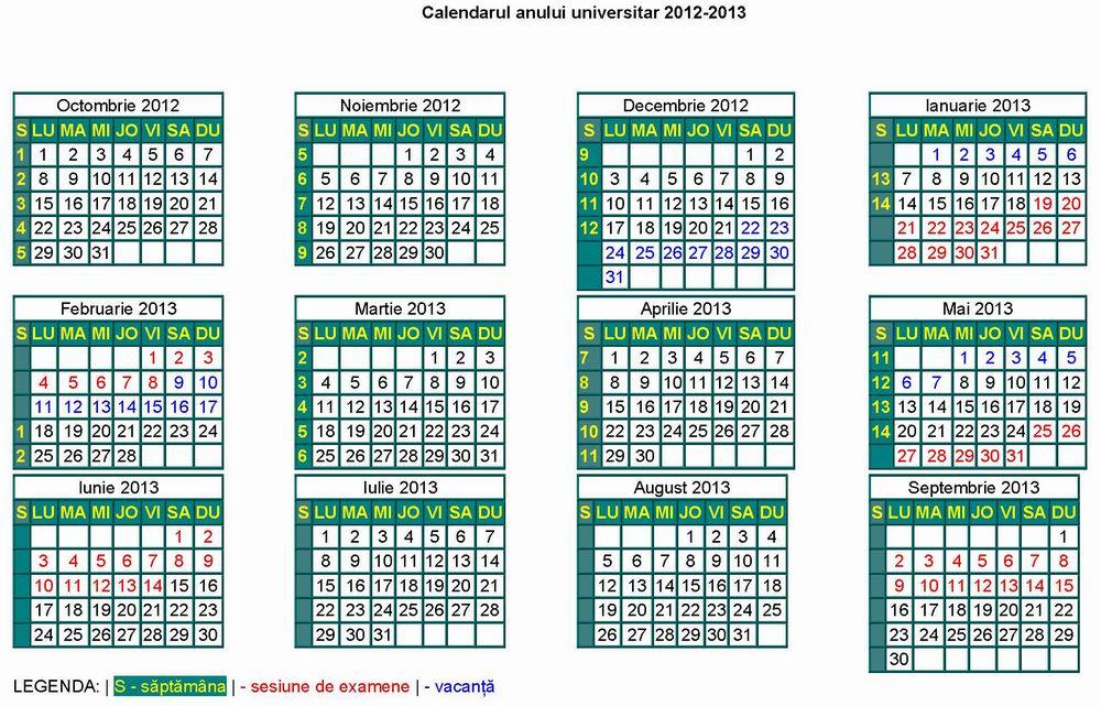 Calendarul anului universitar 2012-2013