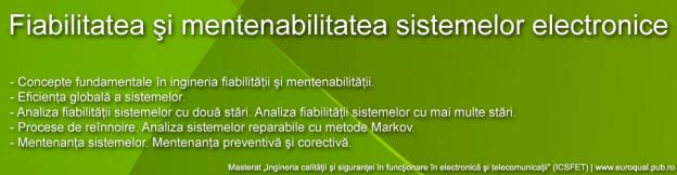Fiabilitatea şi mentenabilitatea sistemelor electronice